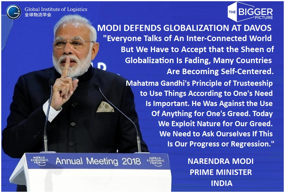 <b>PRIME MINISTER MODI<br>ON GLOBALIZATION AT DAVOS</b>