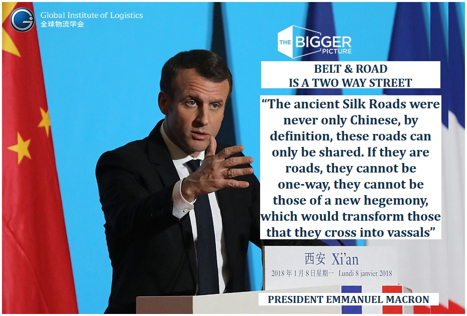 <B>PRESIDENT MACRON<BR>BELT & ROAD IS TWO WAYS</B>