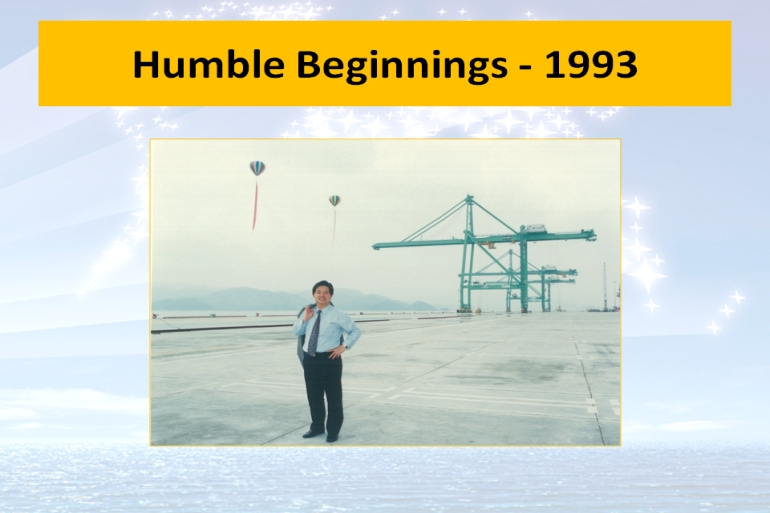 Humble beginnings showing phase 1 with only 3 cranes